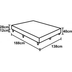 BASE PARA CAMA BOX CASAL SUEDE MARROM 138X188X40
