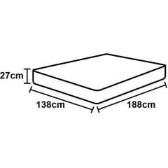 CAMA BOX CASAL DE ESPUMA D45 BLACK WHITE DOUBLE FACE 138X188X67