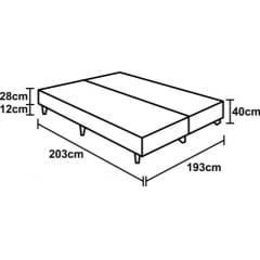 CAMA BOX SUPER KING DE ESPUMA D45 BLACK WHITE DOUBLE FACE 193X203X67