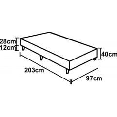 CAMA BOX VIUVA MOLAS LFK LANCASTER 96X203X70